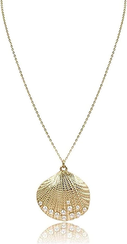 WLHLFL Collar Lindo Colgante de Concha, Collar de Concha de Color Dorado con Perlas, Collar Decorado para Mujer, joyería de Fiesta, Collar, Collar para Mujeres, Hombres, Regalos