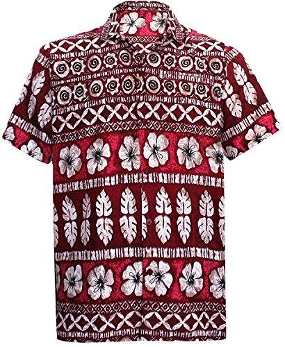 LA LEELA Shirt Casual Button Down Short Sleeve Beach Shirt Men Pocket Printed