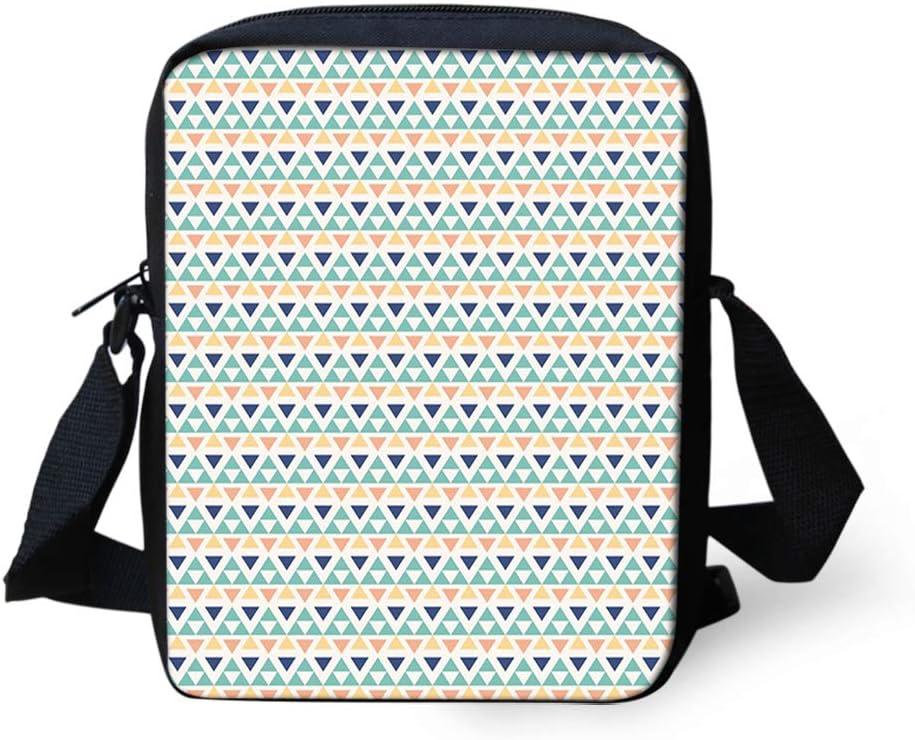 Kids Crossbody Messenger Shoulder Bag,Primitive Aztec Culture Traditional Triangles Pattern with Ethnic Influences
