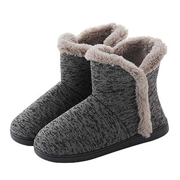 Yocobo Zapatos de Dormitorio Gris Diseño Simple Zapatillas Mujer Mujer Zapatilla de Interior Botín Botines Inicio Botas Calentados de Invierno Zapatillas de ...