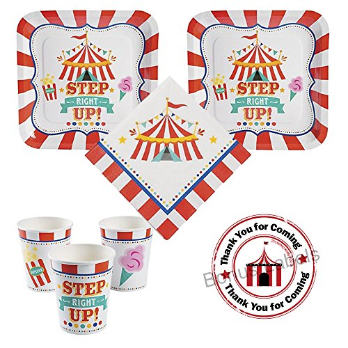 Carnival Birthday Party Pack for 16 guests, dinner plates, napkins, cups, -