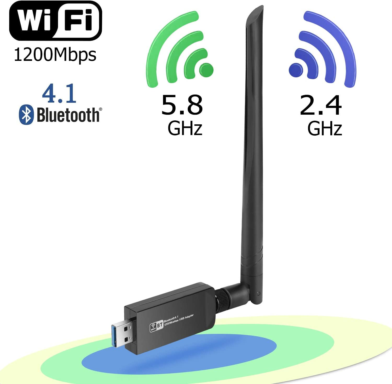 Wireless WiFi Bluetooth Adapter, USB 3.0 WiFi Dongle Network Adapter & Bluetooth 4.1 Transmitter LAN Card AC1200 Dual Band 2.4G/5.8G with Dual Antenna for Desktop/Laptop/PC