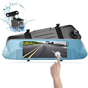 Mirror Dash Cam 1080P Full HD 7-inch IPS Touch Screen MUSON Dual Display Front and Rear Camera 170-degree Wide-Angle with G-Sensor 24-Hour Parking Monitor Motion Detection