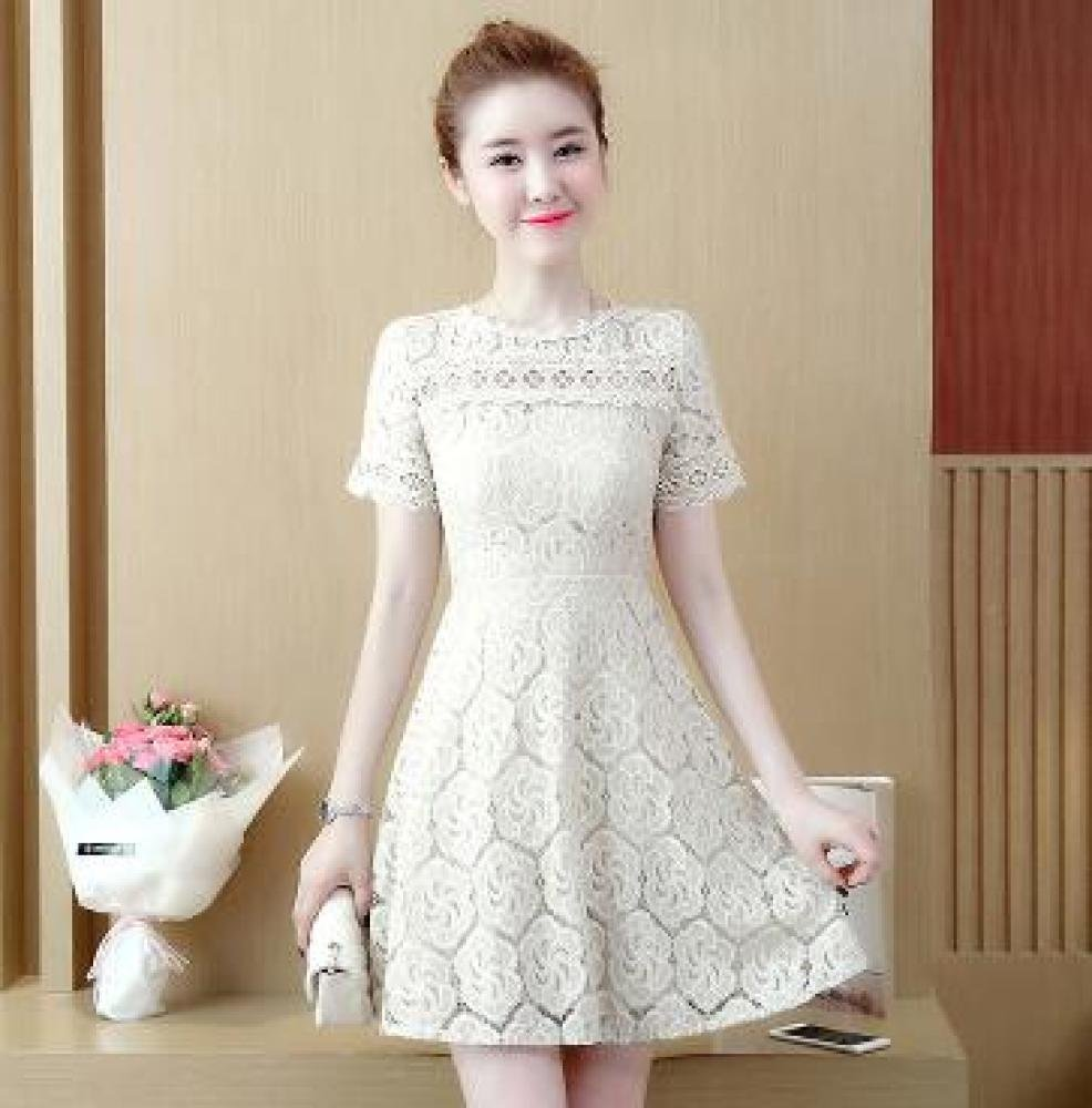 Summer Dress Slim Waist Thin Long Sleeve Lace Dress DYY