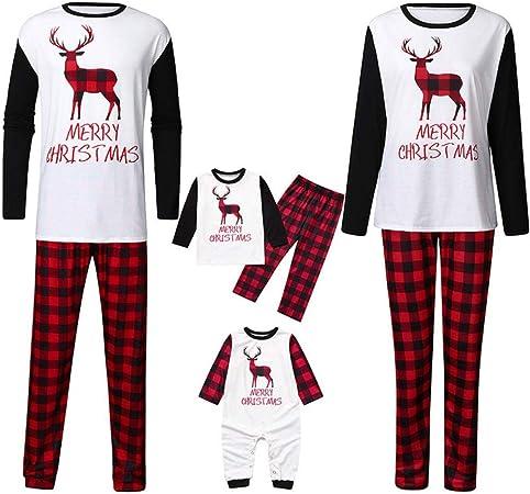 Conjunto de pijama de Navidad con diseño de cuadros rojos ...
