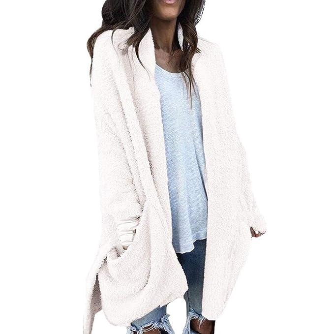 YIHANK 2019 Abrigo de Lana con Bolsillo Artificial cálido para Mujer, Otoño/Invierno,