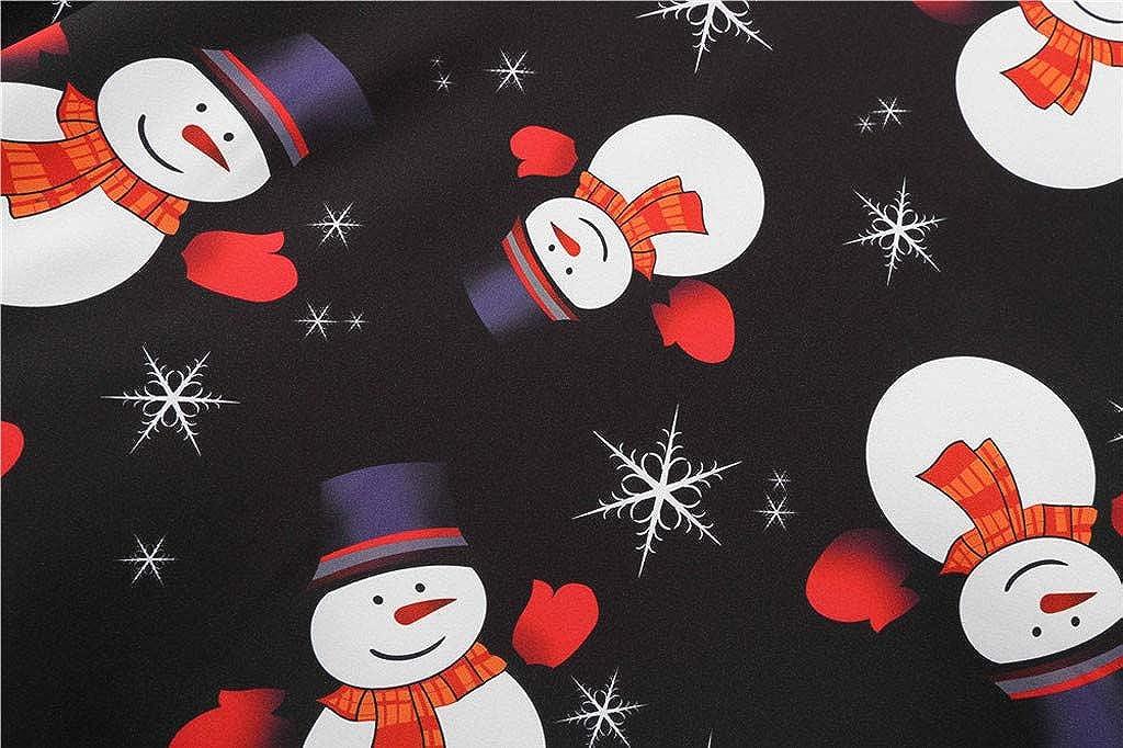 BASACA Weihnachtskleider Damen Vintage Kleid Cocktailkleider Abendkleid Langarm Elegant V-Ausschnitt Weihnachten Santa Schneeflocke Druck Festliche Schwarz Partykleid Minikleid Kleider