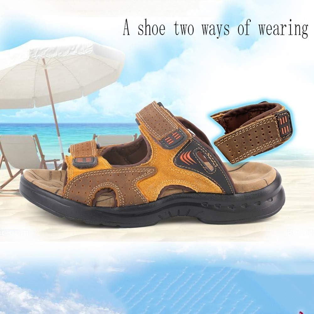 2019 Nuevas Sandalias de Verano Sandalias de Piel de Vaca Masculina Ocio Hombres Playa Zapatos Moda Arena Arrastre Vinteen Yellow
