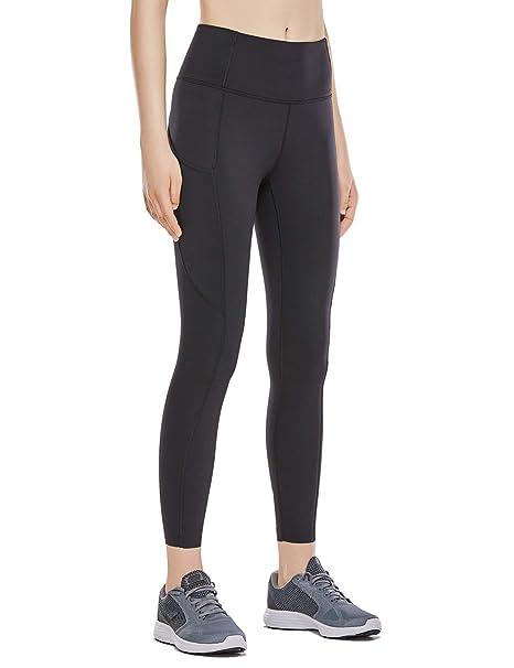 15b1e2998ba28 CRZ YOGA Women's Naked Feeling High Waist Out Pocket Stretchy Running  Leggings-25 Inches Black