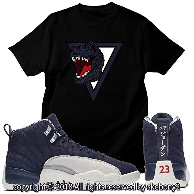 5264952ce4e Custom T Shirt Matching Style of Air Jordan 12 International Flight College  Navy JD 12-