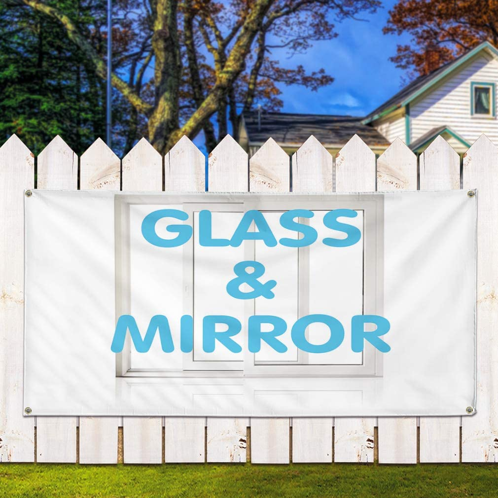 48inx96in Multiple Sizes Available Vinyl Banner Sign Glass /& Mirror Business Glass Mirror Marketing Advertising White One Banner 8 Grommets