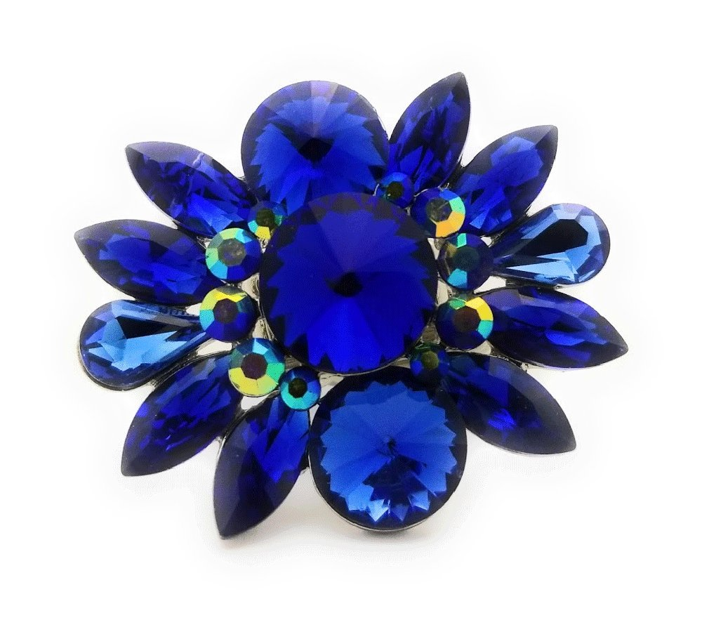 Teri's Boutique Large Flower Crystal Rhinestone Women Fashion Accessory Jewelry Adjustable Rings (Blue)