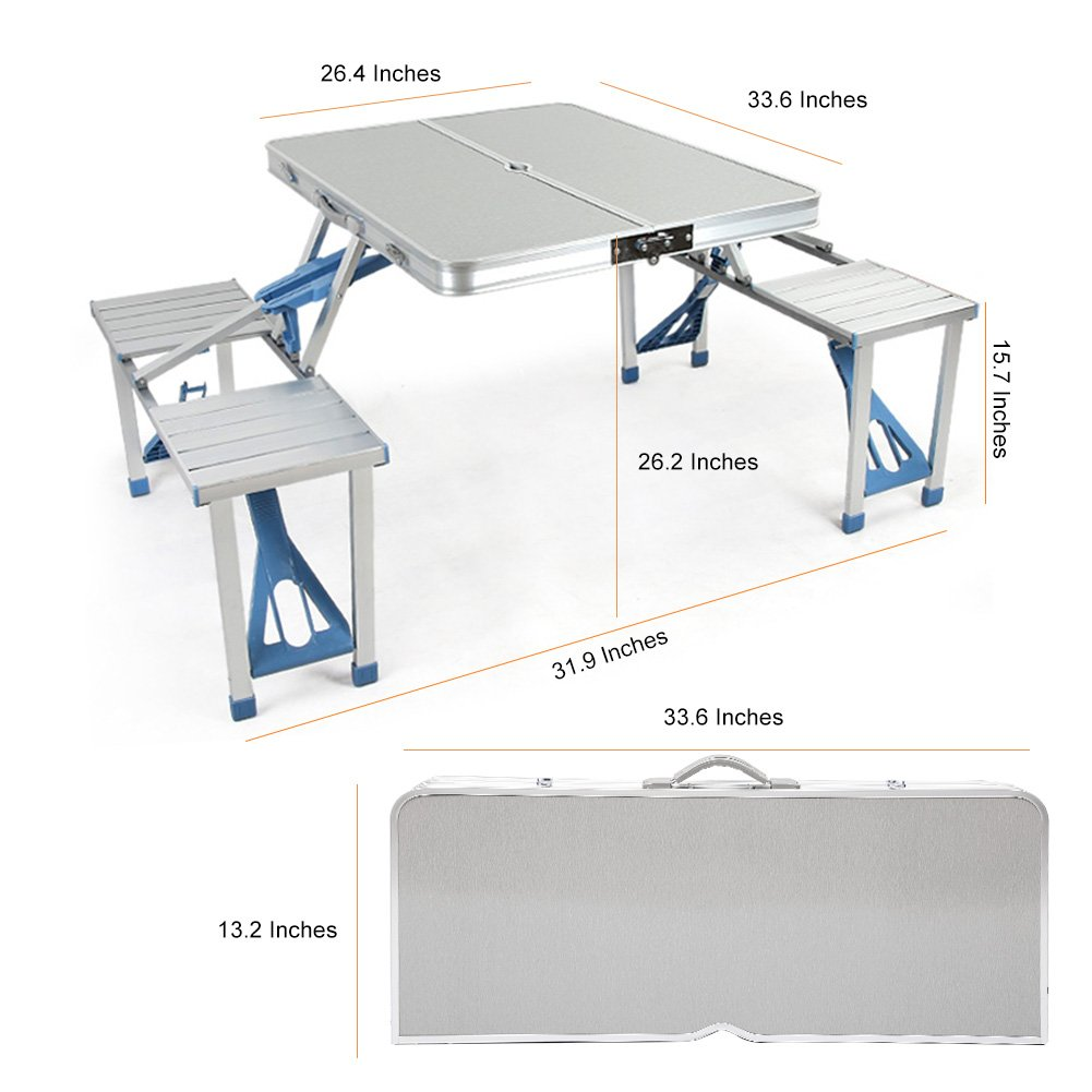 Amazon.com : ROKOO Aluminum Folding Camping Table Portable Outdoor Suitcase Picnic  Table With 4 Connected Seats : Patio, Lawn U0026 Garden