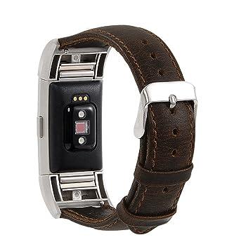 Correa de piel auténtica para reloj inteligente Fitbit Charge 2 , color café: Amazon.es: Deportes y aire libre