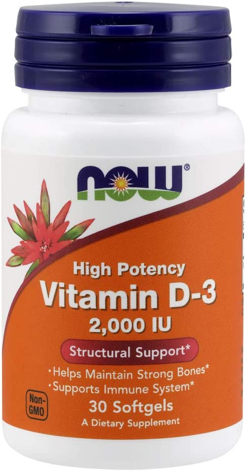 NOW Supplements, Vitamin D-3 2,000 IU, High Potency, Structural Support*, 30 Softgels