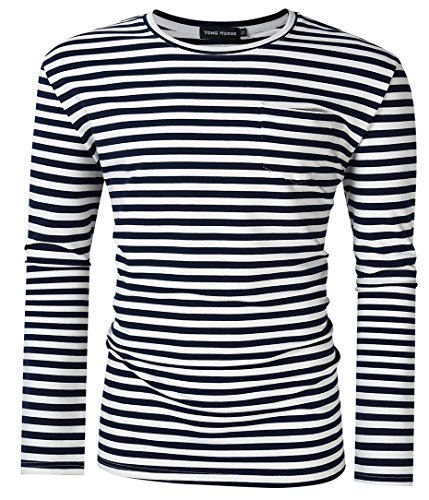 Cotton Striped Shirt (Men Casual T-Shirts Classic Fit 1 Chest Pocket Striped Crew Neck Long Sleeve T Shirts XL - 5XL (Blue and White, 4XL))