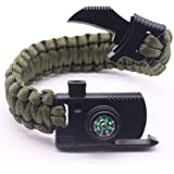 Cajoy Camping Paracord Survival Bracelet Emergency Kit 5-in-1 Compass Fire Starter Knife Whistle Rescue Rope