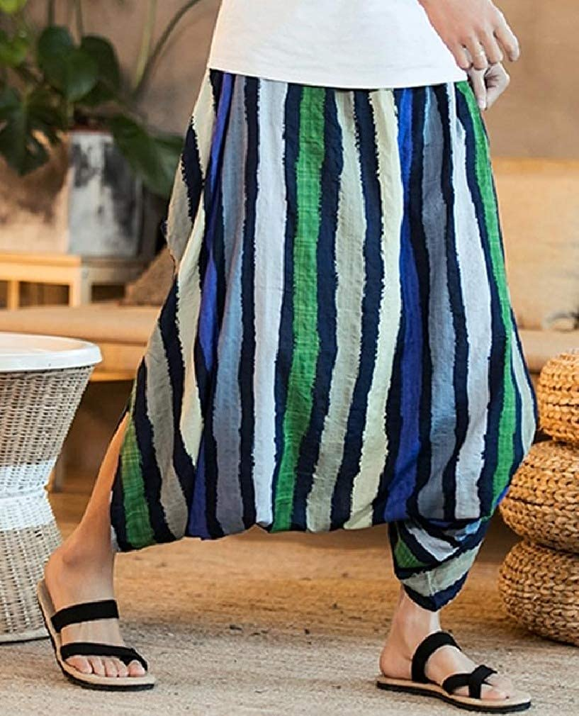 Sweatwater Mens Mid Waist Autumn Drop-Crotch Stripe Ankle Baggy Pants