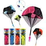 CEASYDE 4 Pack Tangle Free Throwing Toy, Interesting Hand Throw Parachute Army Man, Toss It Up and watch Landing Outdoor Square Children's Flying Toys for Kids and Children