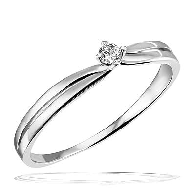 Goldmaid Damen Ring 9 Karat 375 Weissgold Verlobungsring Solitar 1