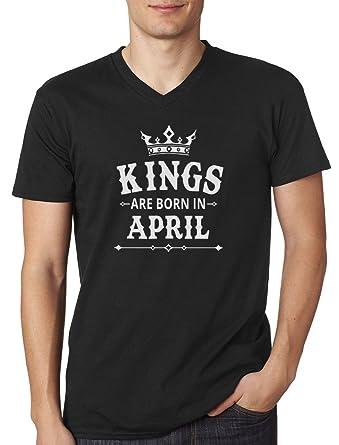 c06e552ef Kings are Born in April - Men's Birthday Gift V-Neck T-Shirt: Amazon ...
