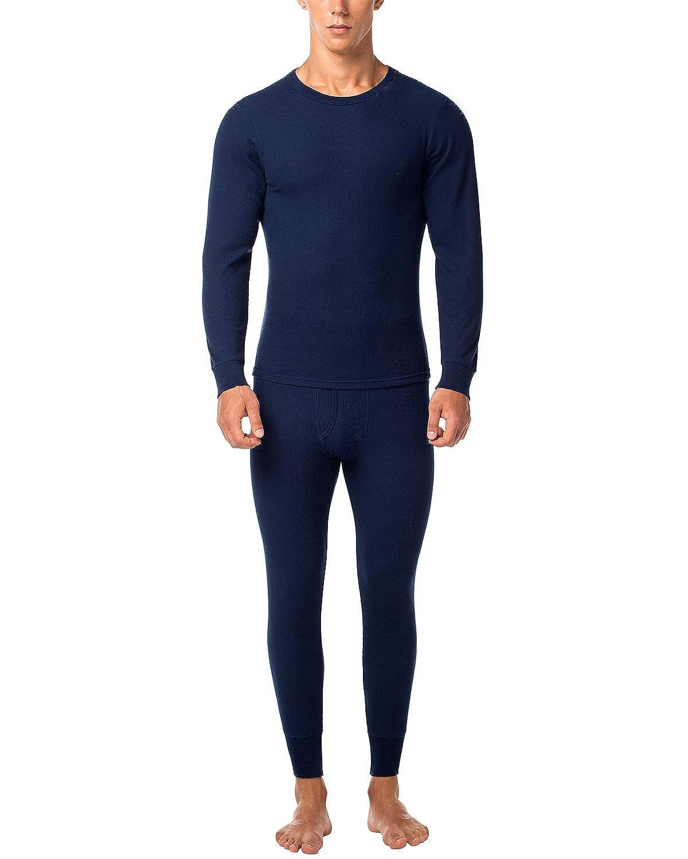 LAPASA Uomo Set Intimo Termico in Cotone Waffle Knit - Materiale Naturale - Maglia Maniche Corte & Pantaloni Invernali per Uomo M60