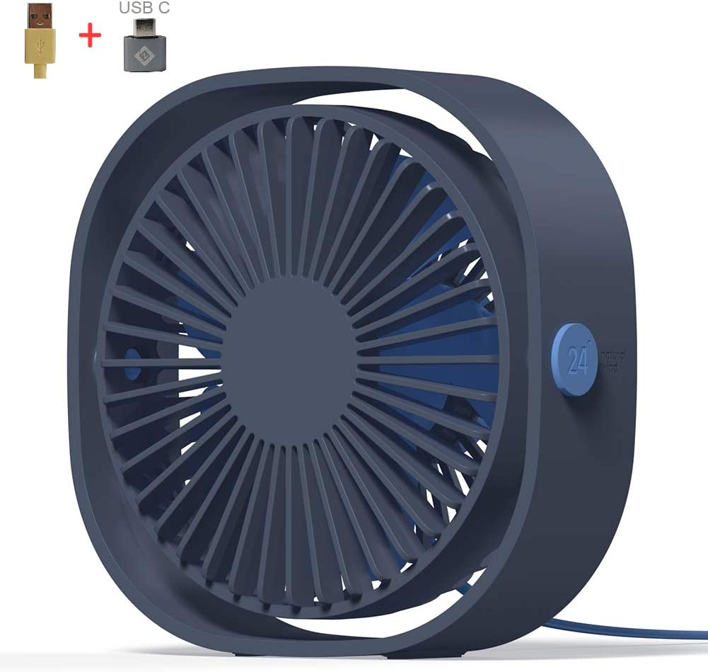 AmuseNd USB Desk Fan, USB Power Fan Ultra-Quiet Third Gear Speed 4inch Mini Fan for Office Desktop 4inch Blue
