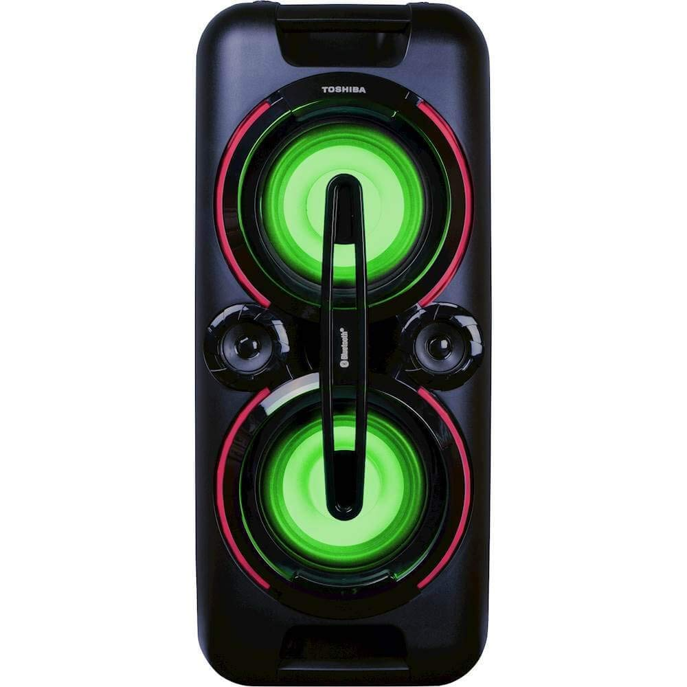 TOSHIBA Rechargeable Wireless Bluetooth/Audio Party Speaker with 8 Color  LED Display and with Mic