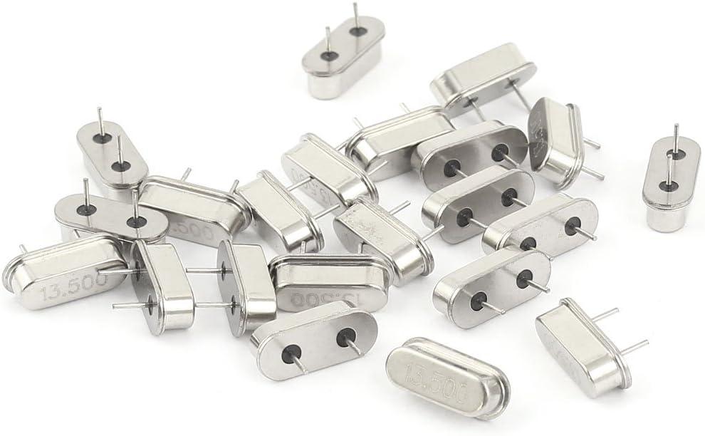 Aexit 20 Pcs Passive Components 13.5MHZ DIP Quartz Crystal Oscillators Silver Resonators Tone HC-49S