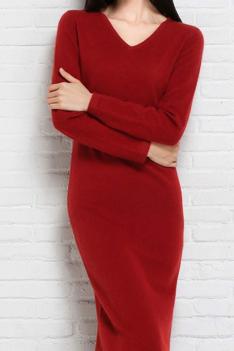 RanRui Sweater Dress Women\'s Vneck Knitted Dress Long Sleeve Cashmere Wool Ankle Length Sheath Sweater Dress (Wine, M)