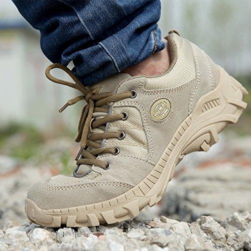 WZG Los hombres zapatos nuevos caída de malla transpirable zapatos al aire libre de los deportes de los zapatos de senderismo de los hombres de los zapatos corrientes de encaje sand color