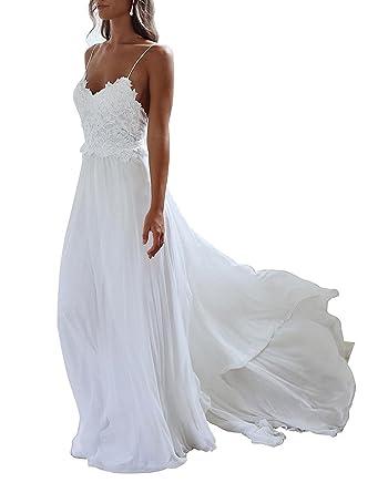 Yasiou Elegant Damen Brautkleid Lang Hochzeitskleider Spitze Chiffon