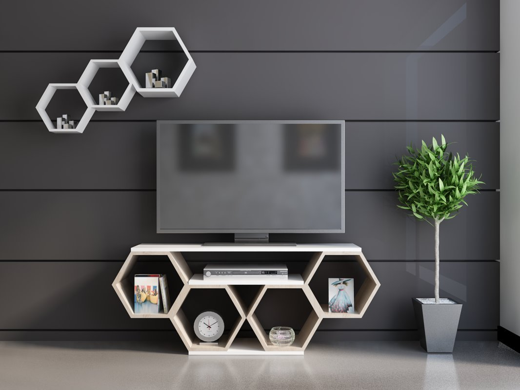 Contemporary Honeycomb Design 54 Inches TV Stand, Featuring Five Open Shelves, Chic and Space Saving Style, Both Decorative and Functional, Perfect for Displaying Books and Magazines + Expert Guide