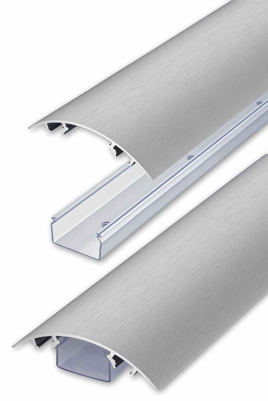 ALUNOVO Aluminium Kabelkanal Edelstahl gebürstet Look, Länge 60cm ...