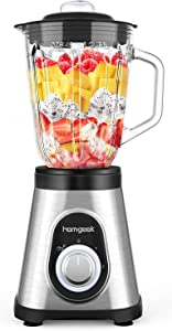 homgeek Smoothie Blender, 750W Countertop Blender with 48oz Glass Pitcher for Kitchen, Glass Blender with 2 Speeds & Pulse Function for Smoothies, Shakes, Ice Crushing and Frozen Fruits