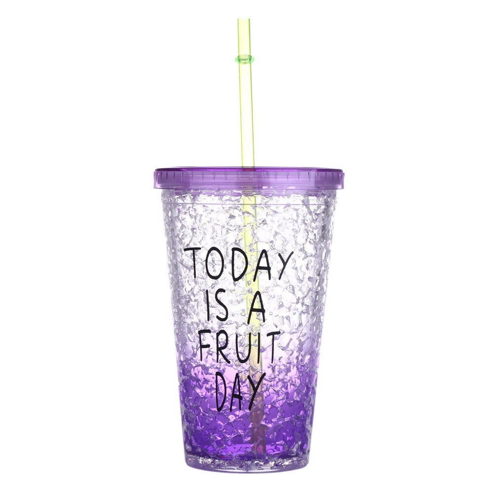Purpke Portable Sports Travel Plastic Fruit Juice Water Lemon Bottle Cup With Lip Straw
