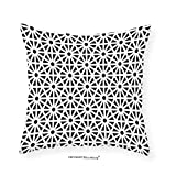 VROSELV Custom Cotton Linen Pillowcase Arabesque Authentic Moroccan Islamic Old Motif with Oriental Effects Middle Eastern Print for Bedroom Living Room Dorm Black White 22''x22''