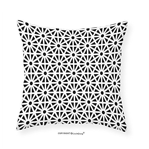 VROSELV Custom Cotton Linen Pillowcase Arabesque Authentic Moroccan Islamic Old Motif with Oriental Effects Middle Eastern Print for Bedroom Living Room Dorm Black White 22''x22'' by VROSELV