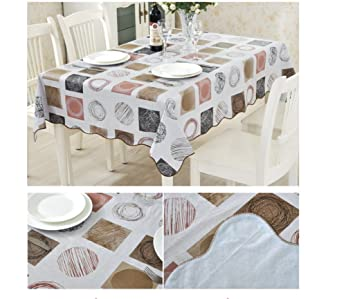 EffortLife Flannel Backed Vinyl Tablecloth WaterProof/Oil Proof PVC Table  Cover Square 60 X