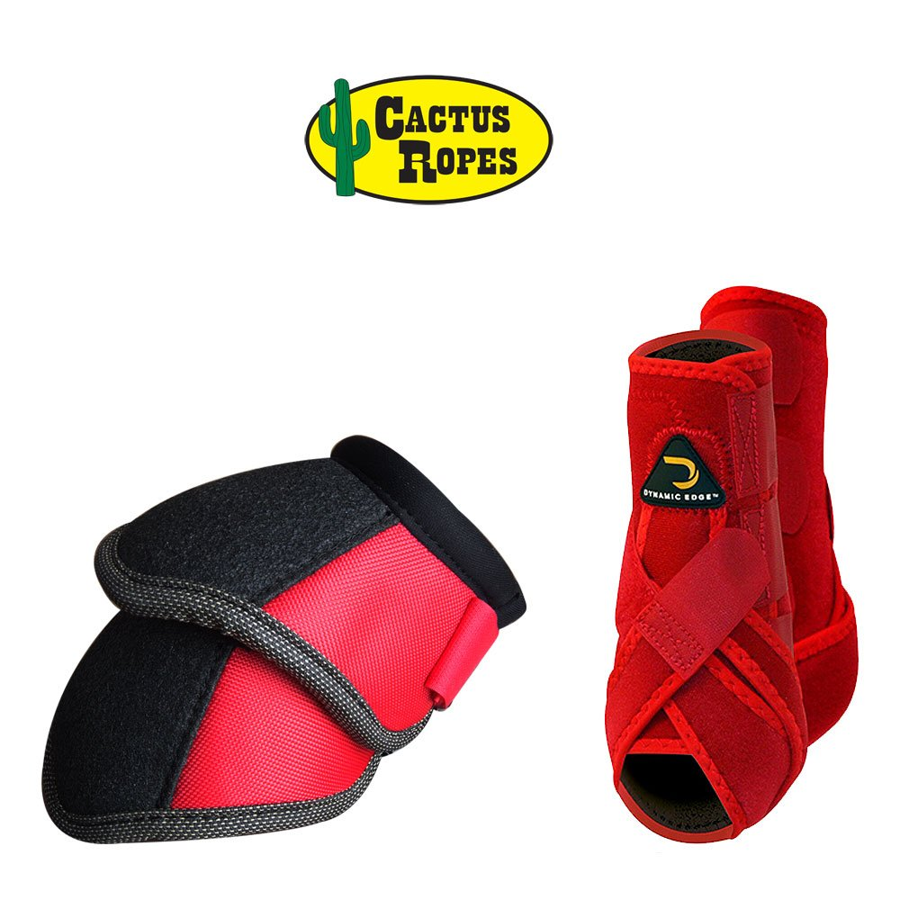 Cactus Medium Dynamic Edge Horse Front Leg Sport Bell Boots Pair Combo RED