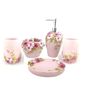 HQdeal Bad Accessoires Set, 5 Teilig, Blumen Design Bloom,