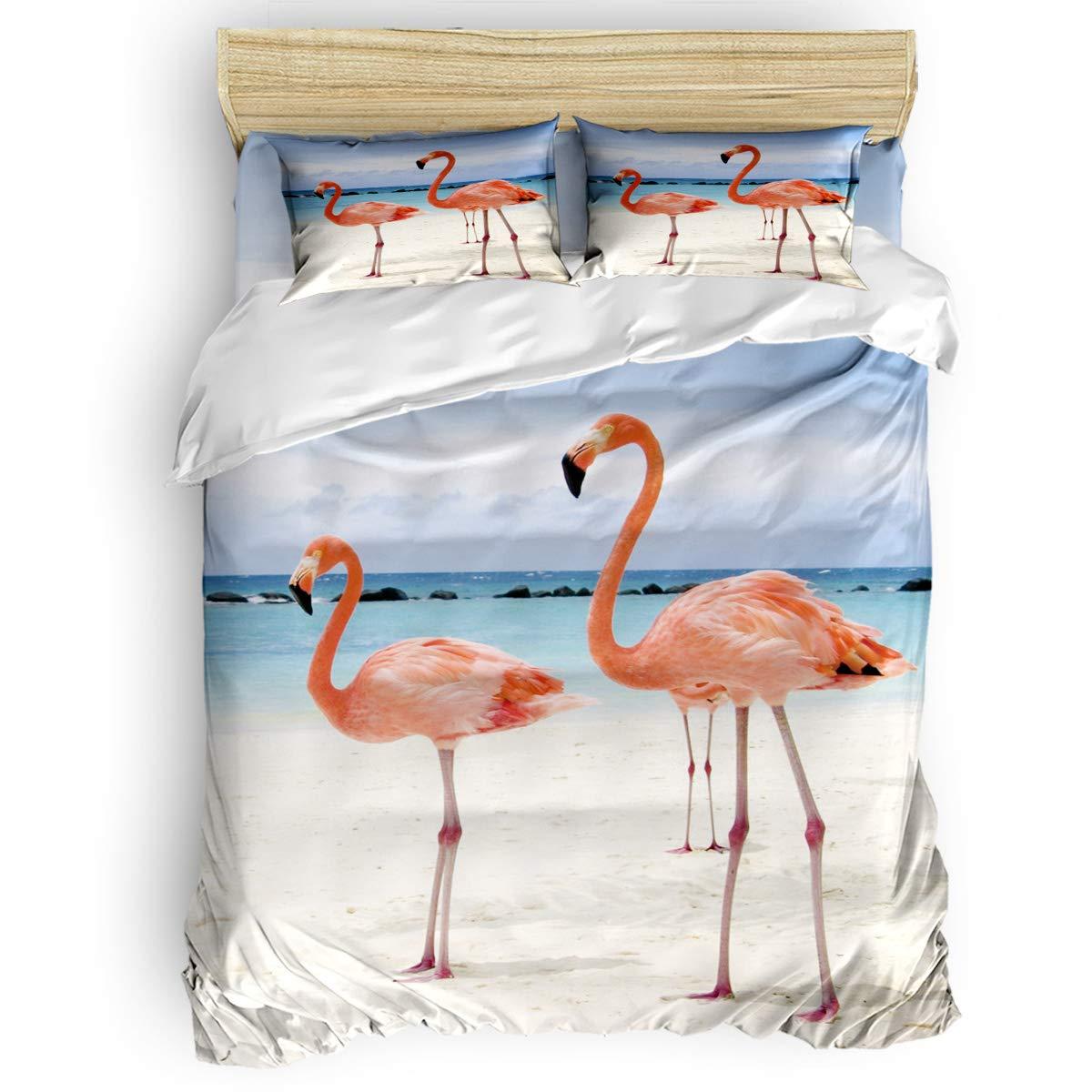 掛け布団カバー 4点セット ブルーアガベ 寝具カバーセット ベッド用 べッドシーツ 枕カバー 洋式 和式兼用 布団カバー 肌に優しい 羽毛布団セット 100%ポリエステル ダブル B07TH967X4 Flamingo-6LAS8271 ダブル