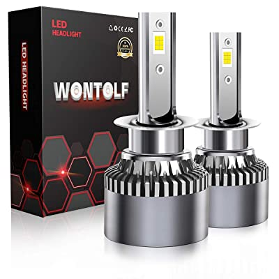 Wontolf H1 LED Headlight Bulb 18000LM High Power Superb Bright 6000K Cool White CSP Chips Conversion Kit Adjustable Beam: Automotive