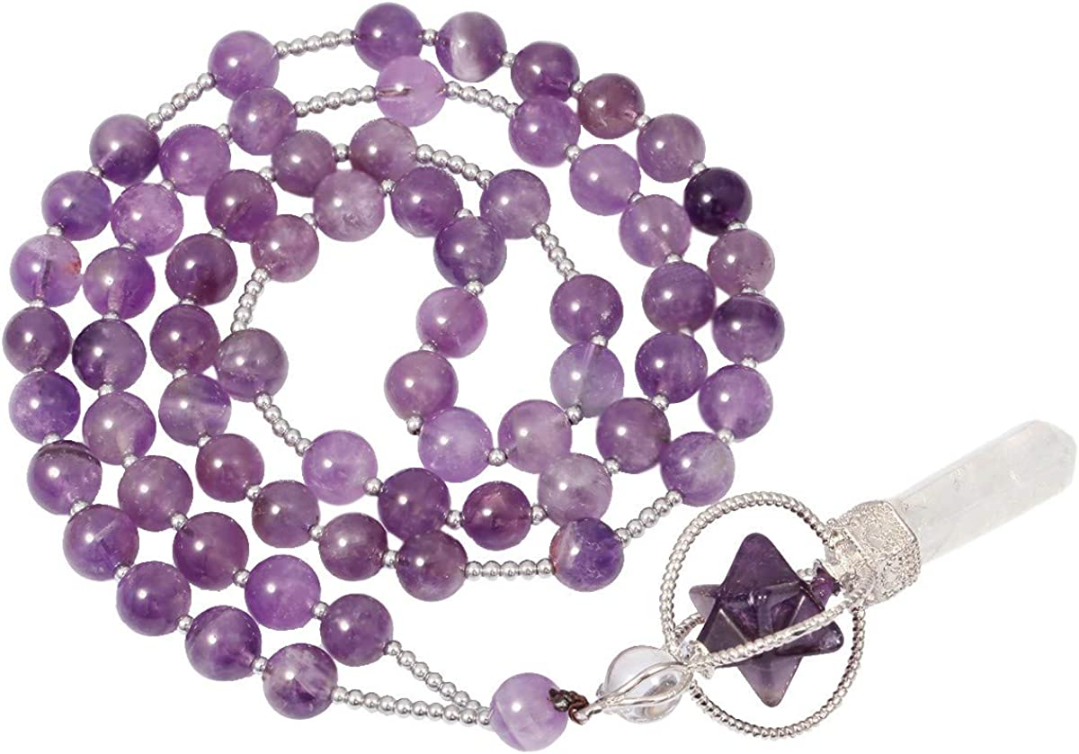 Amethyst Protective Necklace with 38 Crystals and a Stunning Stick Pearl!