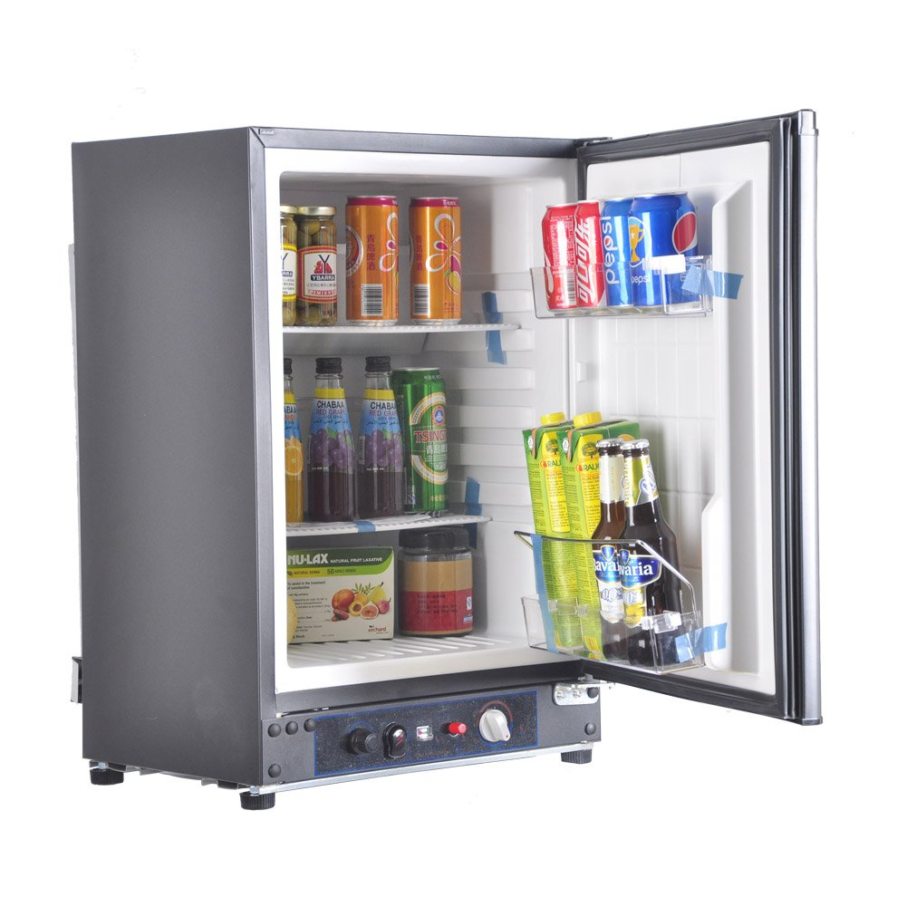 Smad 3 Way Refrigerator 12v Fridge for RV Trucks Peopane Refrigerator No Noise, AC/DC/LPG,55 Qt, Black