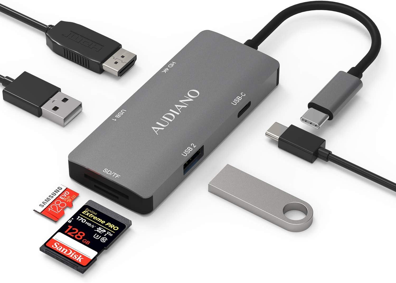 USB C Hub,UMei Type C Hub 6 in 1 HDMI Multifunctional HUB Converter USB3.0 Card Reader SD TF Hub