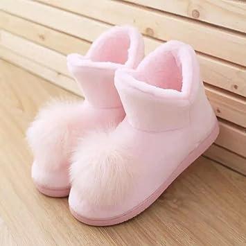 Gran bola de niñas de invierno botas zapatos calientes en casa botines rosa: Amazon.es: Deportes y aire libre