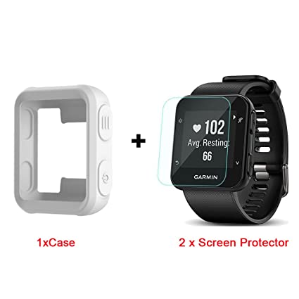 for Garmin Forerunner 35 Case, Lamshaw Silicone Case with Screen Protector (2 Pack) for Garmin Forerunner 35 Watch (White Case+Screen Protector)
