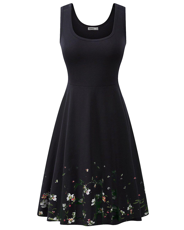 VOTEPRETTY Women's Sleeveless Summer Beach Cotton Casual Dress(Black,M)