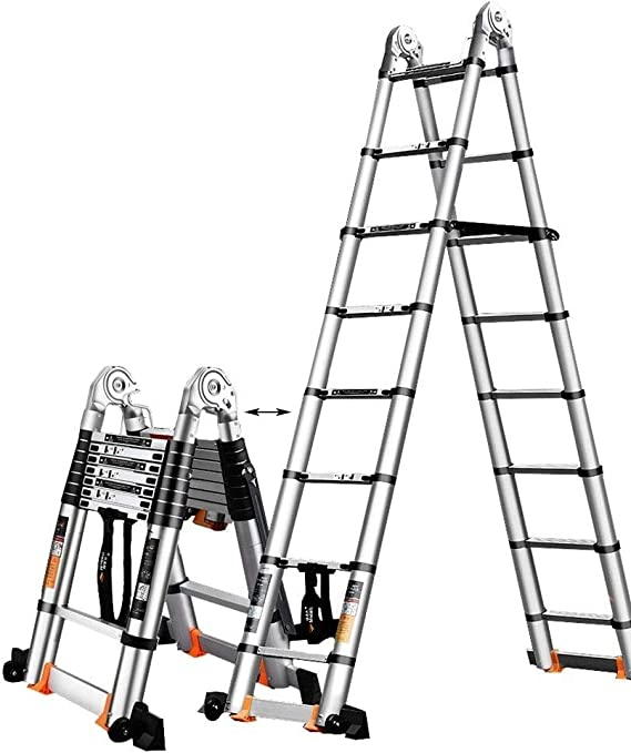 Erru Escalera Telescópica- Escalera Abuhardillada Telescópica Multiusos con Ruedas, Escaleras Telescópicas Plegables De Extensión para La Oficina De Home Loft, Soporte 150 Kg: Amazon.es: Hogar